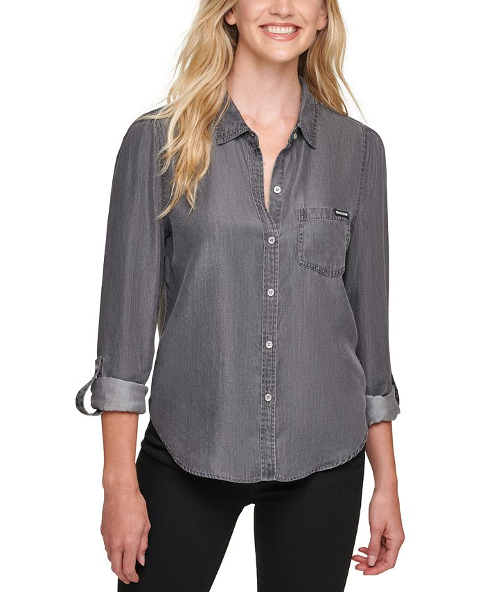 DKNY Jeans - Roll-Sleeve Top With Knit Back