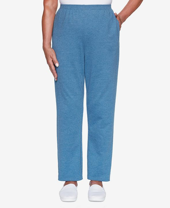 Alfred Dunner Women's Plus Size Long Weekend French Terry Proportioned Pant