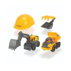 """Dickie Toys 10"""" Playset with 2 Volvo Construction Trucks"""