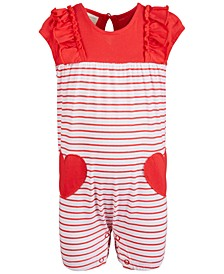 Baby Girls Hearts Striped Cotton Romper, Created for Macy's