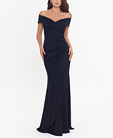 Metallic-Knit Off-the-Shoulder Gown