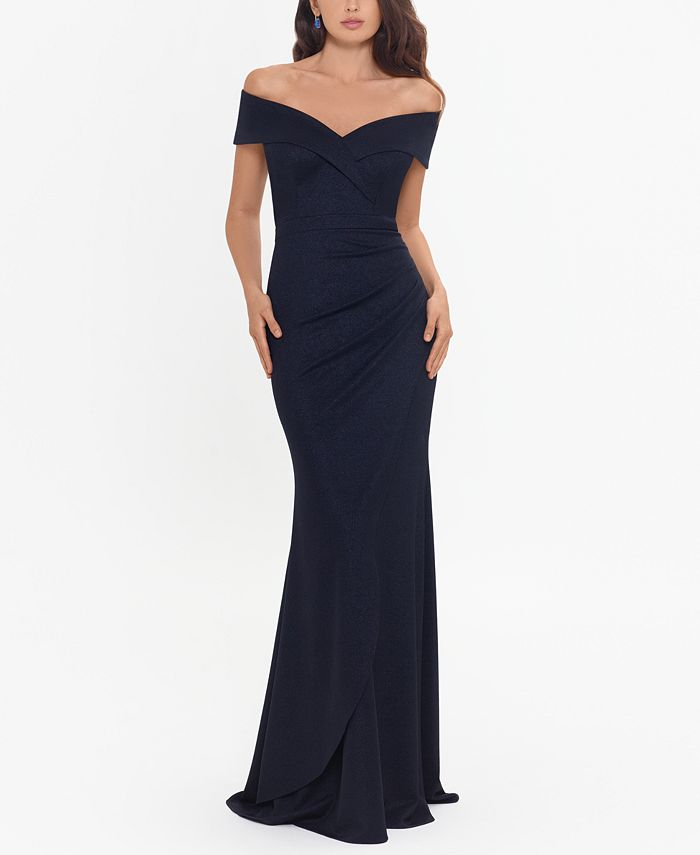 XSCAPE - Metallic-Knit Off-the-Shoulder Gown