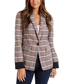 Colorblocked Plaid Blazer