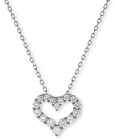 Diamond Heart Pendant Necklace (1/2 ct. t.w.) in 14K Gold or 14K White Gold