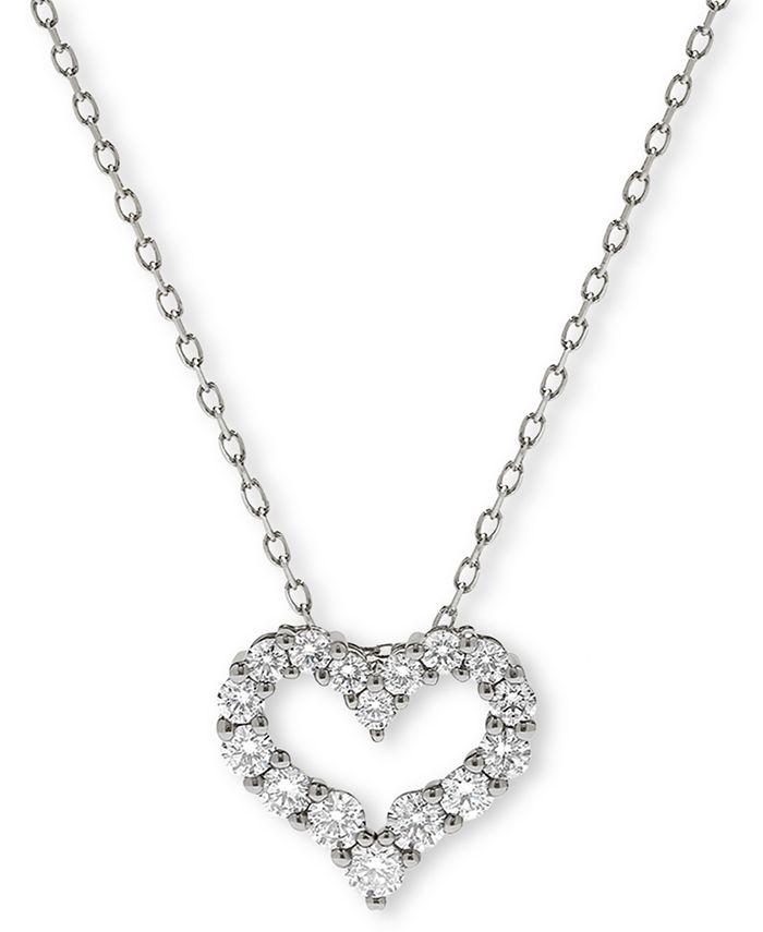 Macy's - Diamond Heart Pendant Necklace (1/2 ct. t.w.) n 14K Gold or 14K White Gold