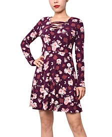 Juniors' Printed Lace-Up A-Line Dress