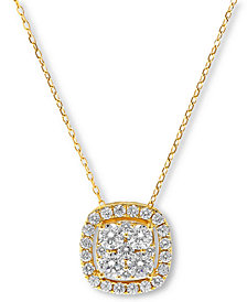 Diamond Halo Cluster Pendant Necklace (1 ct. t.w.)  in 14k Gold or 14k White Gold