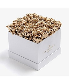 Square Box of 16 Gold Real Roses Preserved to Last Over A Year, Large