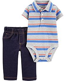 Baby Boys 2-Piece Striped Jersey Bodysuit Pant Set