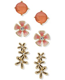Gold-Tone 3-Pc. Set Crystal & Stone Flower Earrings