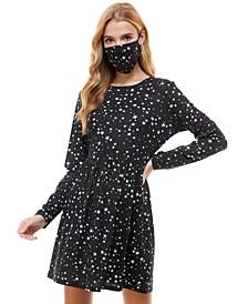 Juniors' Metallic Star Print Dress & Face Mask