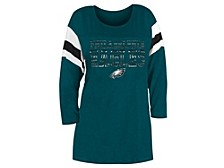 Philadelphia Eagles Women's Sleeve Stripe Three Quarter Raglan T-Shirt