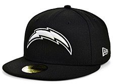 Los Angeles Chargers Black And White 59FIFTY Cap