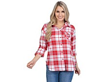 UG Apparel Ohio State Buckeyes Women's Flannel Boyfriend Plaid Button Up Shirt