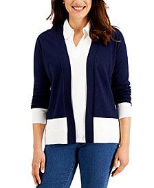 Karen Scott Open-Front Colorblocked Cardigan, Created for Macy's
