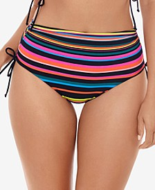Striped High-Waist Side-Tie Reversible Bikini Bottoms