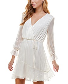 Juniors' Surplice A-Line Dress