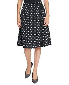 Pleated Dot-Print Skirt