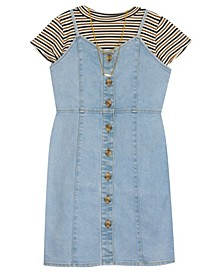 Big Girl Denim Button Down Dress With Rib Knit Top