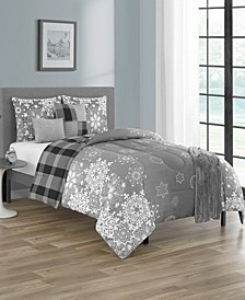 Snowflakes Queen Comforter Set, 6 Piece