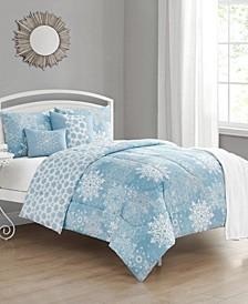 Snow Crystal Queen Comforter Set, 6 Piece