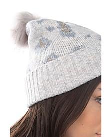 Women's Leopard Lurex Faux Fur Pom Hat