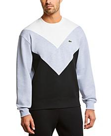 Men's Regular Fit Long Sleeve Crew Neck Fleece Pique Sweatshirt with V-shaped Colorblocking
