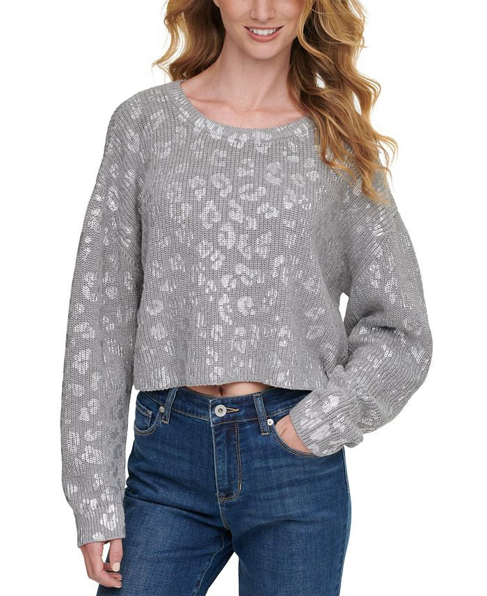 DKNY Jeans - Cropped Metallic-Printed Sweater
