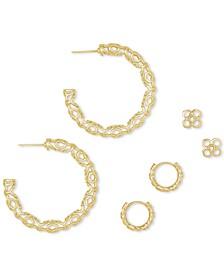 14k Gold-Plated 3-Pc. Set Filigree Hoop & Stud Earrings