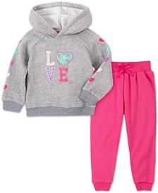 Baby Girls 2-Pc. LOVE Hoodie & Pants Set