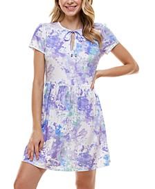 Juniors' Tie Dye Fit & Flare Dress