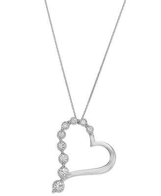 Trumiracle 10k white gold diamond journey heart pendant necklace 1 trumiracle 10k white gold diamond journey heart pendant necklace 14 ct mozeypictures Gallery