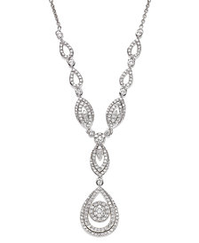 "Wrapped in Love™ Diamond Double Drop Pendant 17""  in 14k White Gold (1-1/2 ct. t.w.), Created for Macy's"