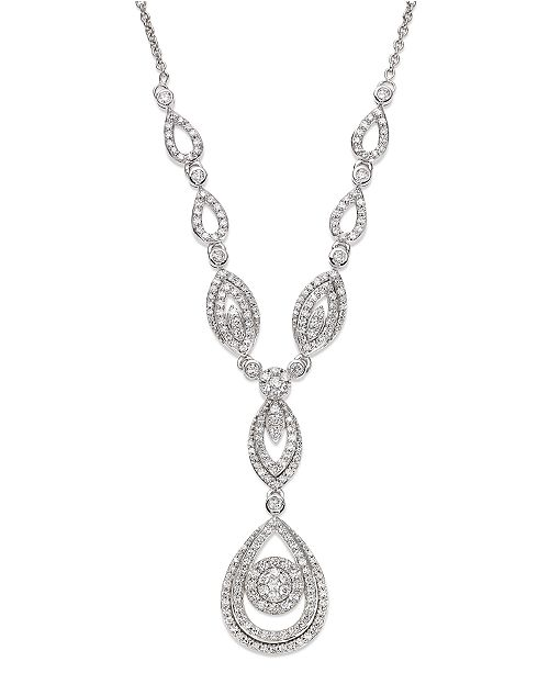 "Wrapped in Love Diamond Double Drop Pendant 17""  in 14k White Gold (1-1/2 ct. t.w.), Created for Macy's"