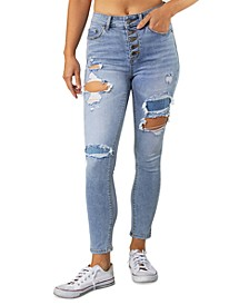 Juniors' High Rise Ripped Button-Fly Skinny Jeans