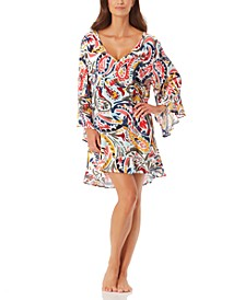 Watercolor Paisley Flounce Tunic Cover Up