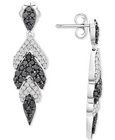 Black & White Diamond Drop Earrings (1 ct. t.w.) in 14k White Gold