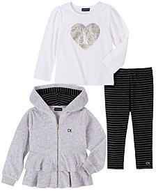 Toddler Girl Velour Hooded Short Jacket with A Long Sleeve Top and Striped Legging, 3 Piece Set
