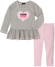 Little Girl Stripe Knit Tunic with Legging, 2 Piece Set
