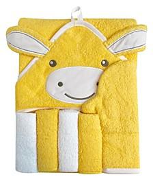 Snoogie Boo Baby Premium Cotton Hooded Towel, Wash-mitt, Washcloth Set