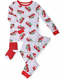 Toddler Boys 2-Piece Santa Firetruck Pajama Sock Set