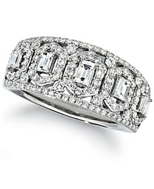 Baguette & Round Vanilla Diamond® Ring (3/4 ct. t.w.) in Platinum