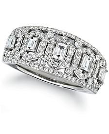 Baguette & Round Vanilla Diamond® Ring (3/4 ct. t.w.) in Platinum