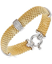 Diamond Mesh Bracelet (1/3 ct. t.w.) in Sterling Silver & Gold-Plated Sterling Silver