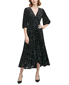 Burnout Velvet Faux-Wrap Dress