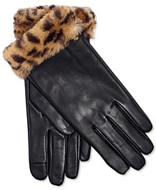 로렌 랄프로렌 Lauren Ralph Lauren Faux Fur Leather Gloves,Leopard/black