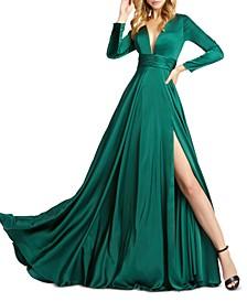 V-Neck Side-Slit Gown