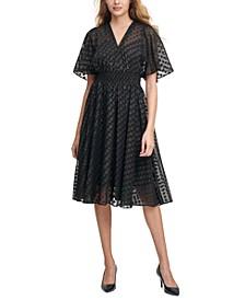 Clip-Dot Chiffon A-Line Dress