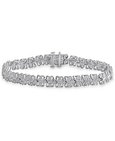 Diamond Heart Link Bracelet (1 ct. t.w.) in Sterling Silver