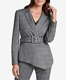 Belted Asymmetrical-Hem Jacket
